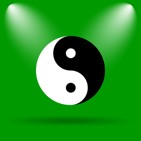 yan: Ying yang icon. Internet button on green background.