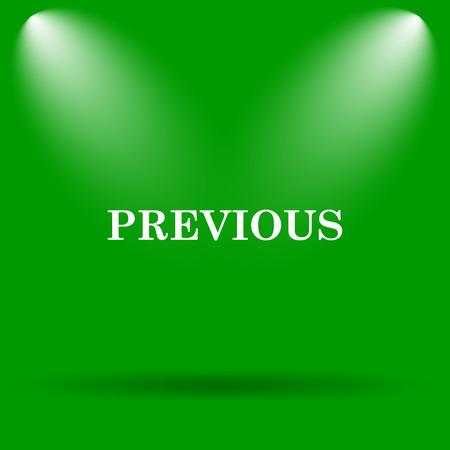 previous: Previous icon. Internet button on green background. Stock Photo