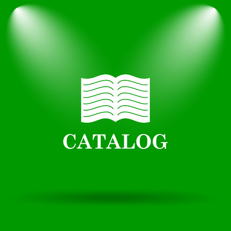 catalog: Catalog icon. Internet button on green background. Stock Photo