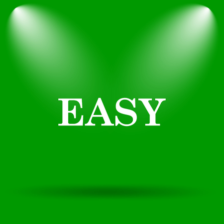 easy: Easy icon. Internet button on green background. Stock Photo