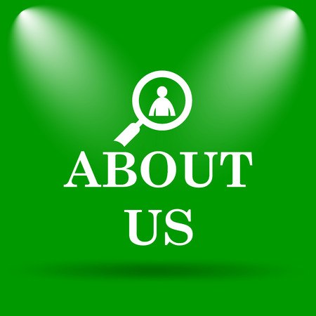 find us: About us icon. Internet button on green background. Stock Photo