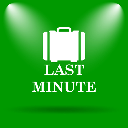 depart: Last minute icon. Internet button on green background. Stock Photo
