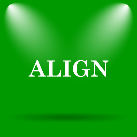align: Align icon. Internet button on green background.