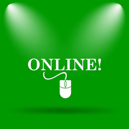 Online with mouse icon. Internet button on green background.