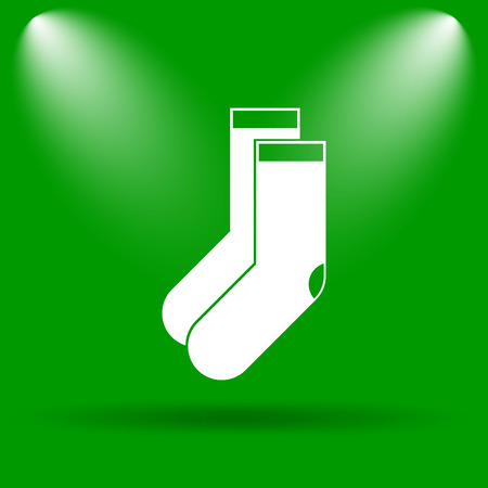 hosiery: Socks icon. Internet button on green background. Stock Photo