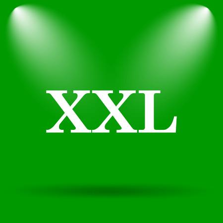 xxl icon: XXL  icon. Internet button on green background.