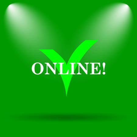 Online icon. Internet button on green background.