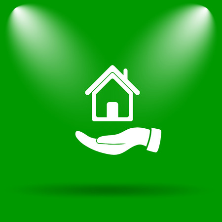 hand holding house: Hand holding house icon. Internet button on green background.