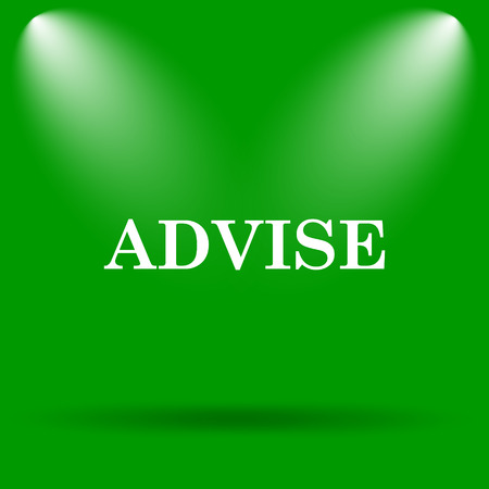 advise: Advise icon. Internet button on green background. Stock Photo