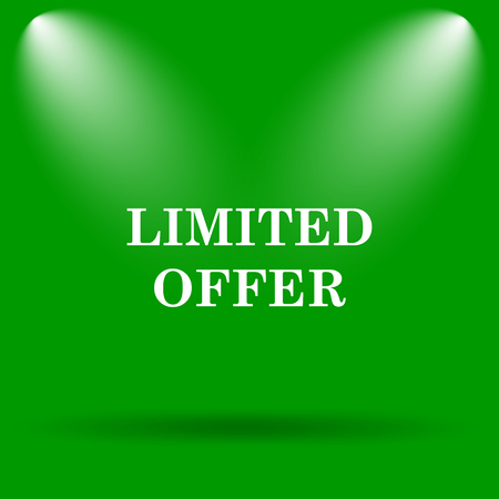 auction off: Limited offer icon. Internet button on green background. Stock Photo