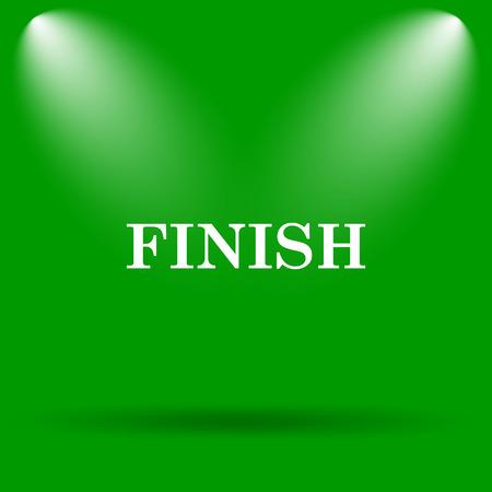 abort: Finish icon. Internet button on green background.