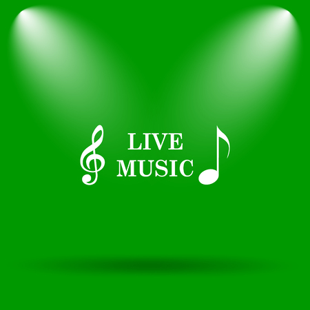 live stream sign: Live music icon. Internet button on green background. Stock Photo