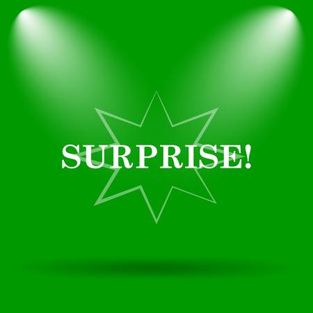 amazement: Surprise icon. Internet button on green background.
