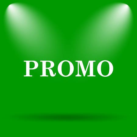 promo: Promo icon. Internet button on green background. Stock Photo