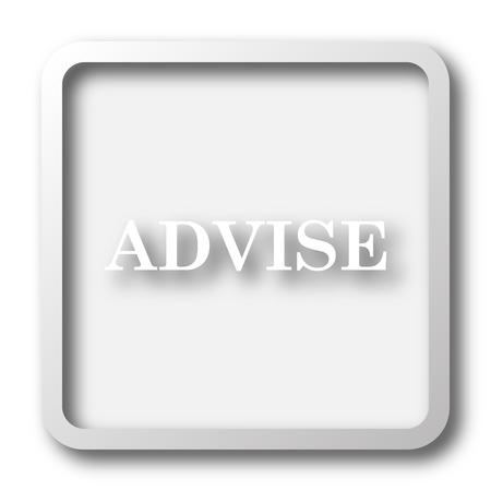 advise: Advise icon. Internet button on white background.