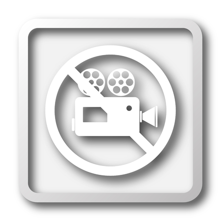 excluded: Forbidden video camera icon. Internet button on white background. Stock Photo
