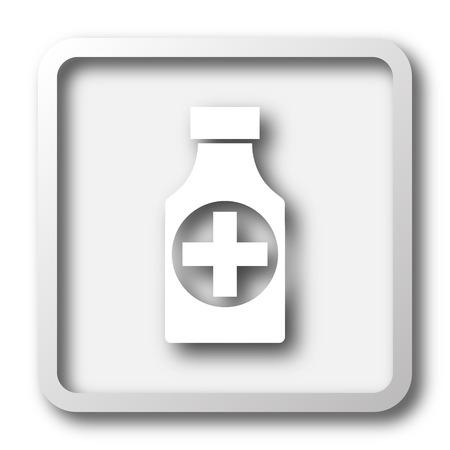 remedies: Pills bottle  icon. Internet button on white background. Stock Photo