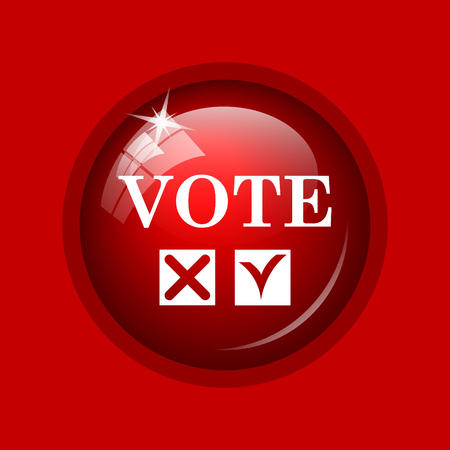 vote icon: Vote icon. Internet button on red background.