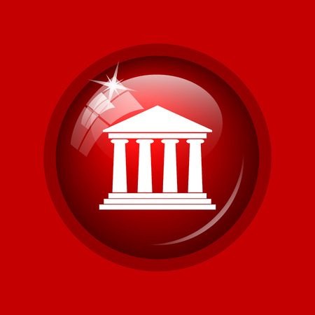 roman pillar: Building icon. Internet button on red background.