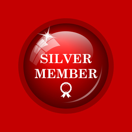 premium member: Silver member icon. Internet button on red background. Stock Photo