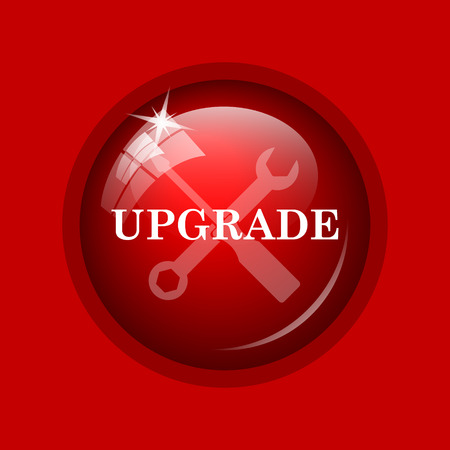 upgrade: Upgrade icon. Internet button on red background.
