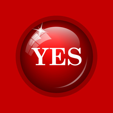 proceed: Yes icon. Internet button on red background. Stock Photo