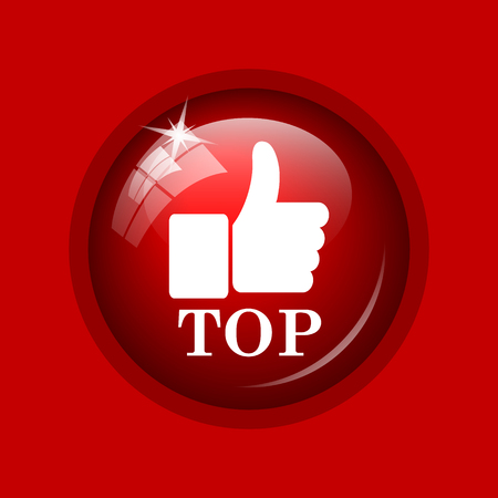regard: Top icon. Internet button on red background. Stock Photo