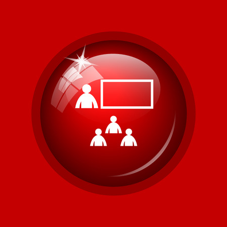 stage coach: Presenting icon. Internet button on red background.
