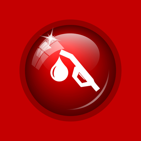 nozzle: Gasoline pump nozzle icon. Internet button on red background.