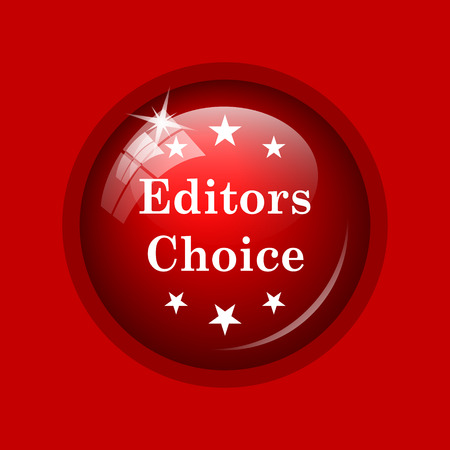 editors: Editors choice icon. Internet button on red background.
