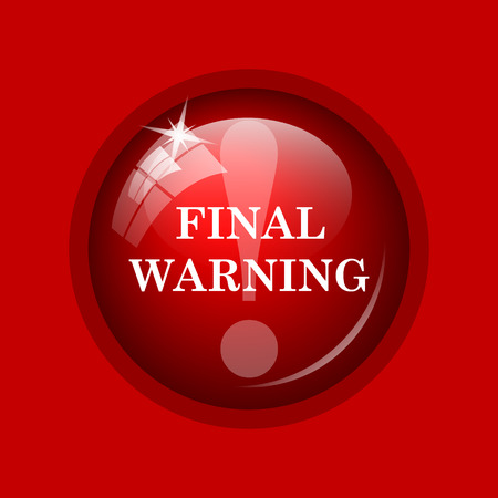 warning icon: Final warning icon. Internet button on red background.