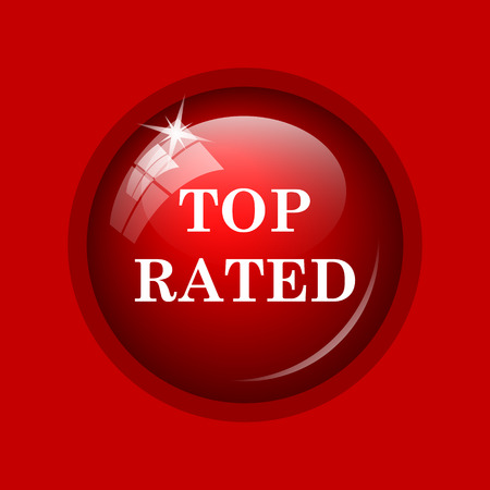 rated: Top rated  icon. Internet button on red background. Stock Photo