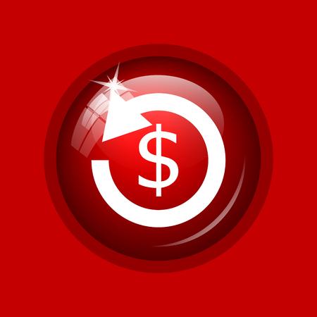 refund: Refund icon. Internet button on red background. Stock Photo