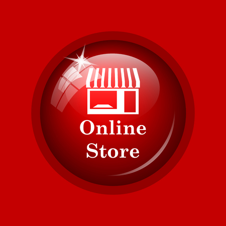 button front: Online store icon. Internet button on red background.