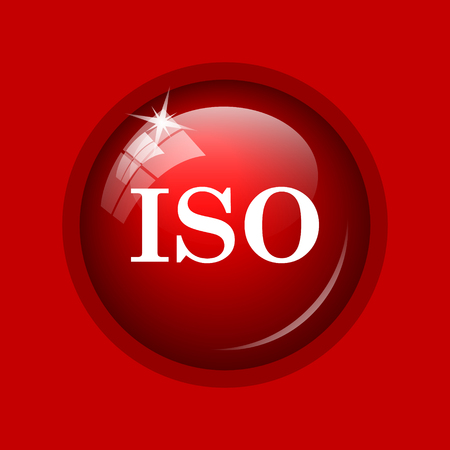 iso icon: ISO icon. Internet button on red background. Stock Photo