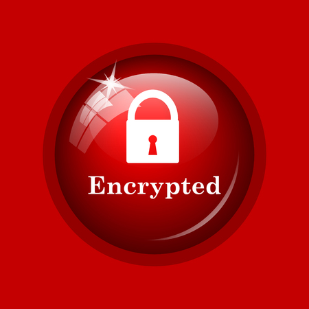 encrypted: Encrypted icon. Internet button on red background.