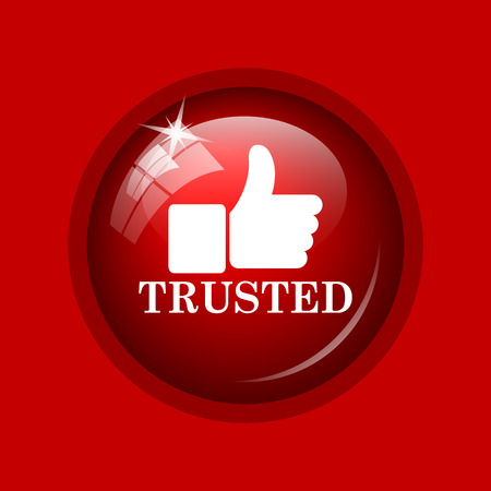 trusted: Trusted icon. Internet button on red background.
