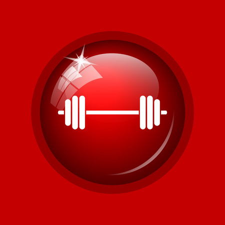 weightlifting: Weightlifting icon. Internet button on red background.