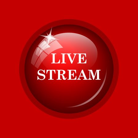 news cast: Live stream icon. Internet button on red background.