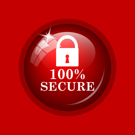 reassurance: 100 percent secure icon. Internet button on red background.