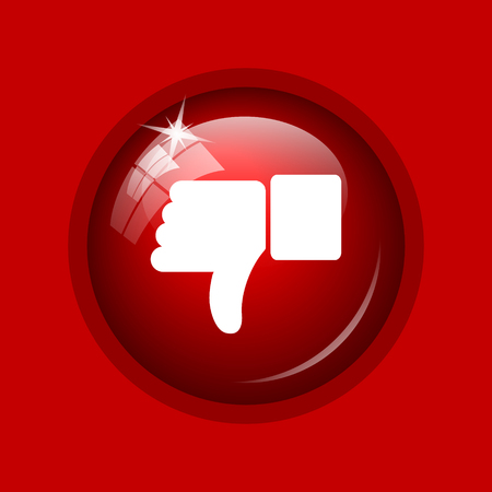 thumb down icon: Thumb down icon. Internet button on red background.