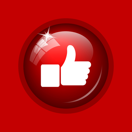 approval button: Thumb up icon. Internet button on red background.