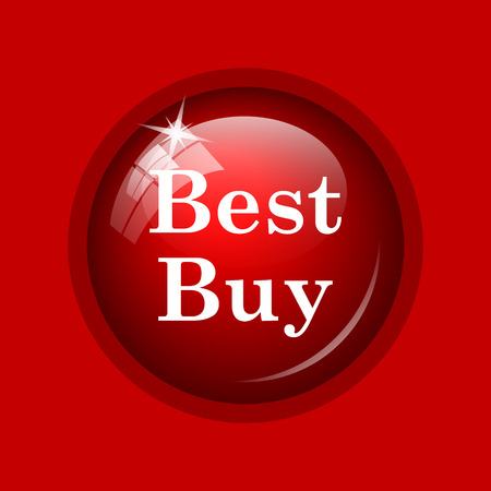 buy icon: Best buy icon. Internet button on red background. Stock Photo