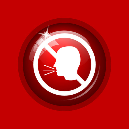 noisily: No talking icon. Internet button on red background. Stock Photo