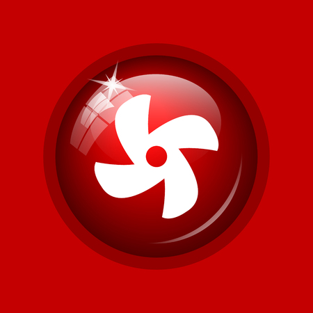 conditioned: Fan icon. Internet button on red background. Stock Photo