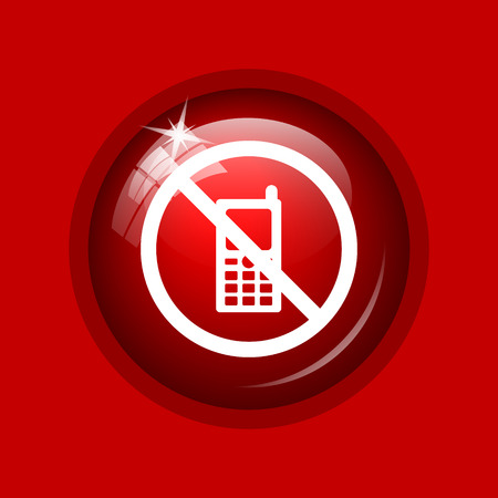 restricted icon: Mobile phone restricted icon. Internet button on red background.