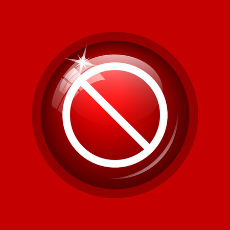 disallowed: Forbidden icon. Internet button on red background. Stock Photo