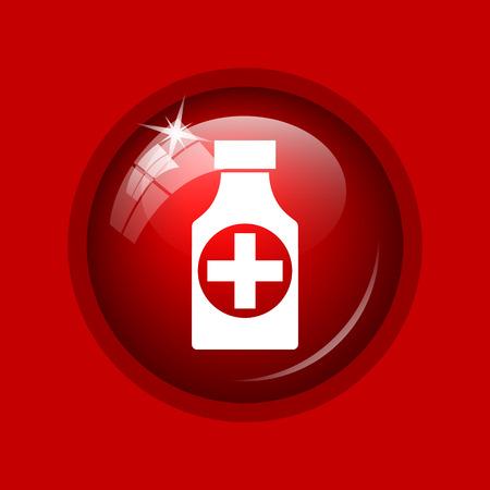 pills bottle: Pills bottle  icon. Internet button on red background.
