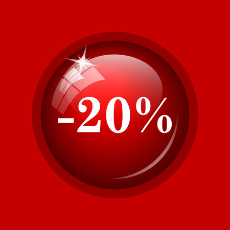 20: 20 percent discount icon. Internet button on red background. Stock Photo