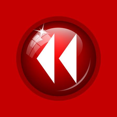 rewind: Rewind icon. Internet button on red background. Stock Photo